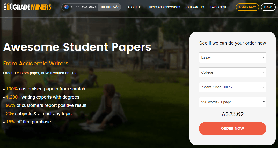 au.grademiners.com home page