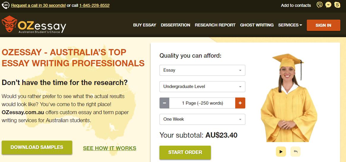 ozessay.com.au home page
