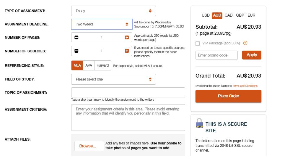 ozessay.com.au order form