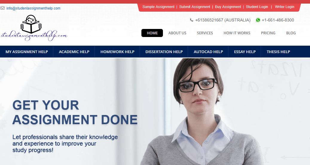 studentassignmenthelp.com home page