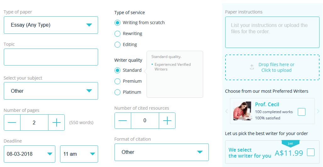essayontime.com.au order form